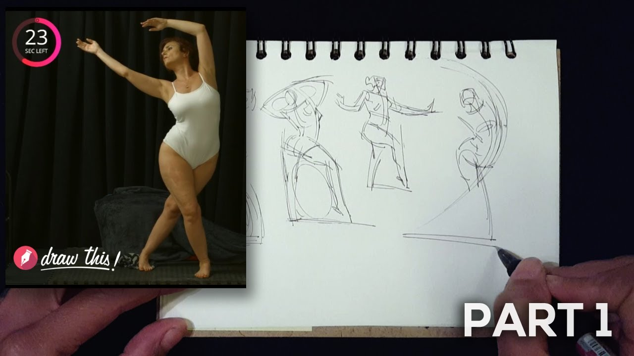 Gesture Drawing Demo, Part 1 of 3 (1 Minute Poses)