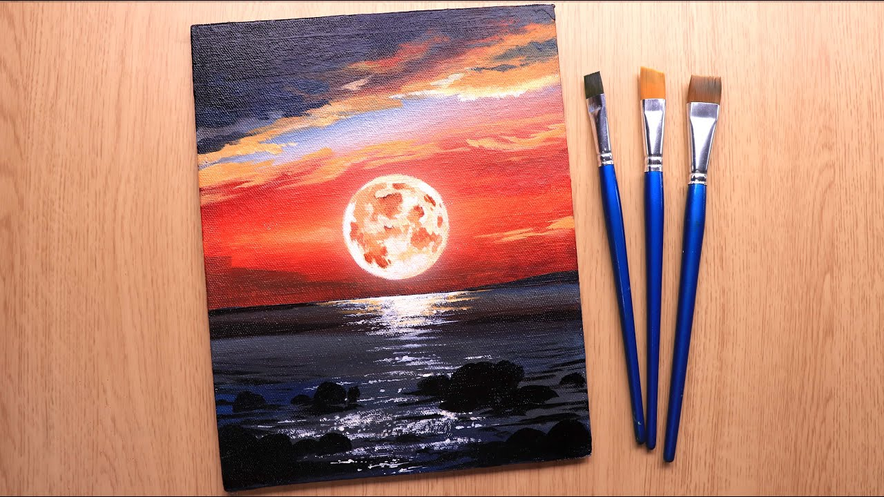 Acrylic painting of beautiful Moonlight water landscape