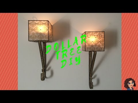 DOLLAR TREE DIY BLACK & GOLD CANDLE WALL SCONCES I VELLUM PAPER | PAPERY DIY DECOR