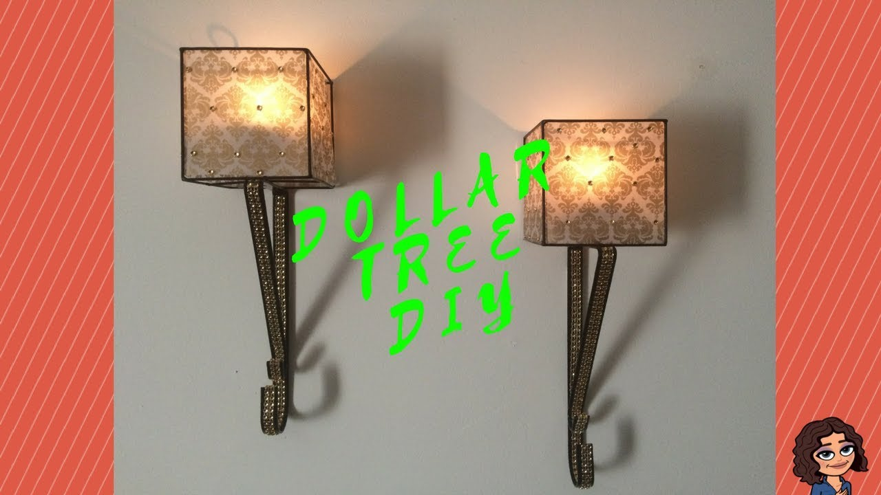 DOLLAR TREE DIY BLACK & GOLD CANDLE WALL SCONCES I WALL DECOR - YouTube