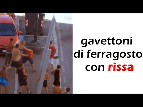 water balloons of ferragosto (feast of the assumption) with brawl
