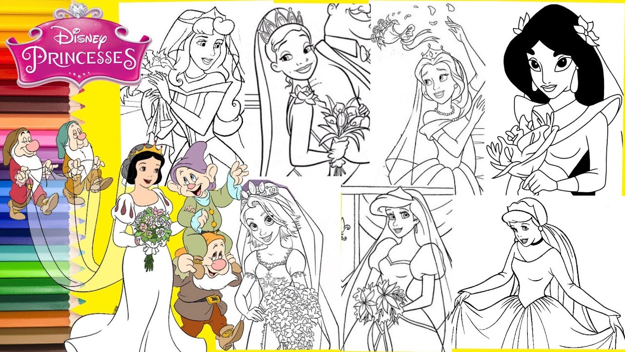 Disney Princess Wedding Day - Princess Bride - Coloring Pages for kids