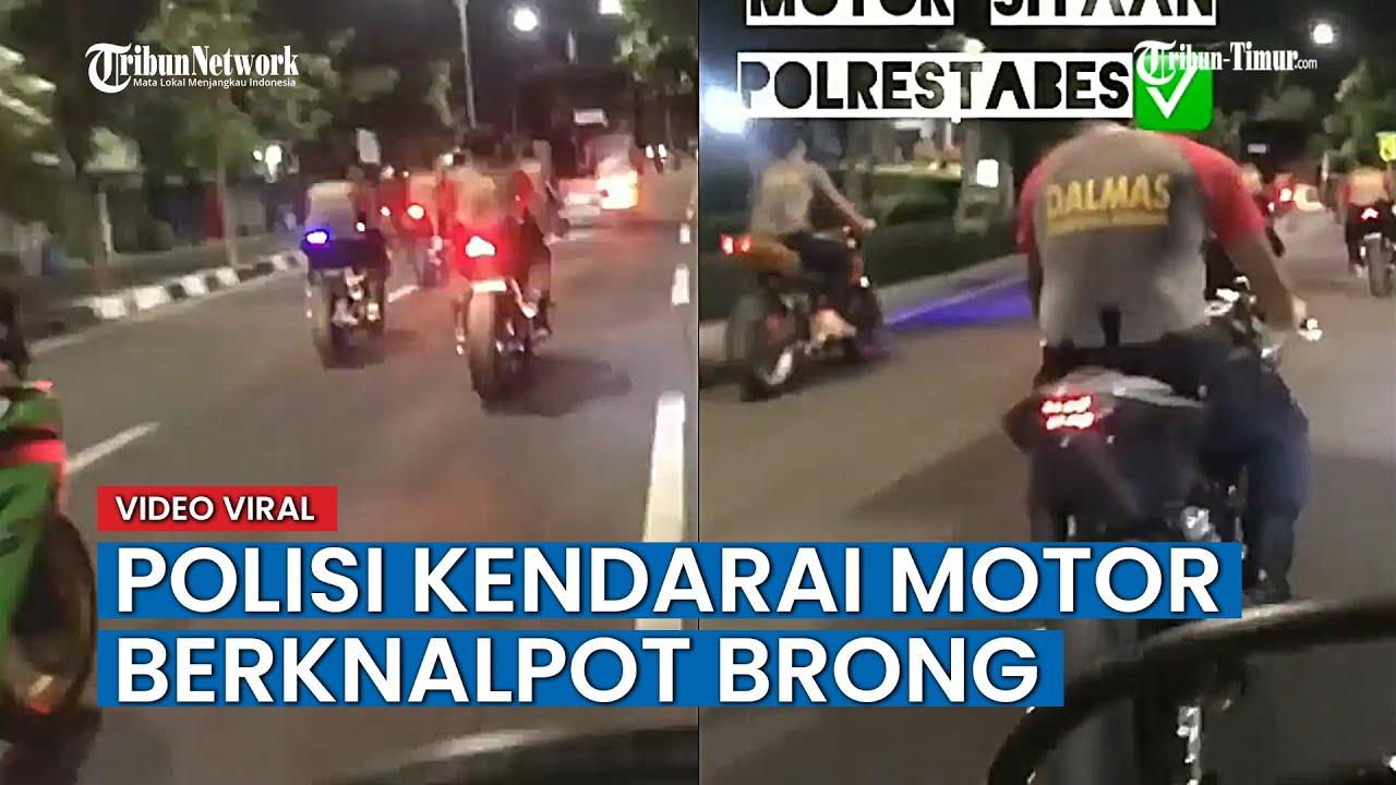 Video Rombongan Polisi Kendarai Motor Sport Berknalpot Brong dan Tak Memakai Helm