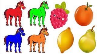 Orange Grapes Pear Lemon Draw color for kids with horse color for children
