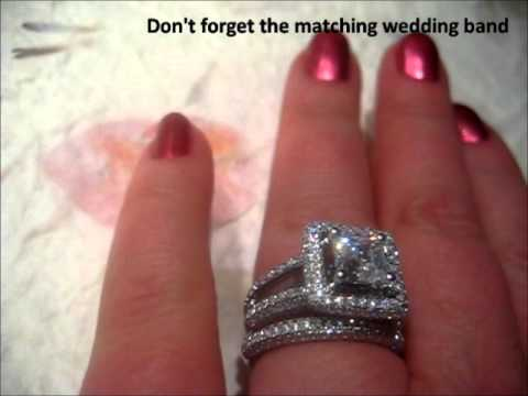 6mm Princess Cut Engagement Ring With Natural Diamond