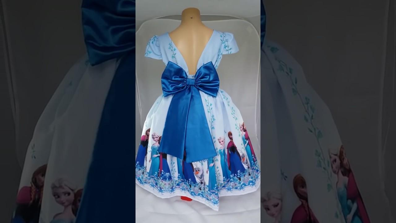 fee865af3 Vestido para Festa Infantil Ana e Elsa Frozen - YouTube