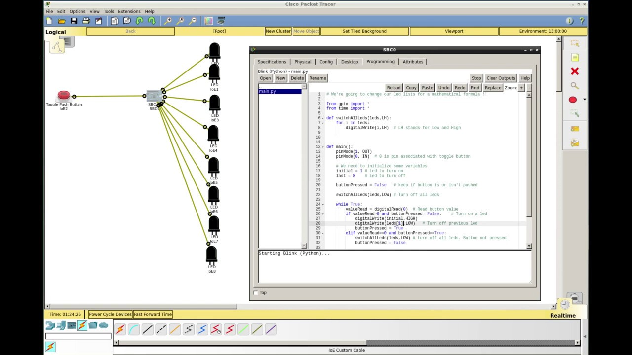 Packet tracer : Turning on and off leds sequentially using a