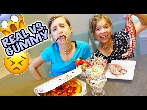 Thumbnail: 😱 REAL FOOD VS. GUMMY FOOD 😱 GROSS CHALLENGE 😱