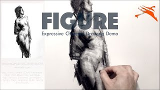 👩‍🎨Charcoal Drawing Demo: Expressive Figure Drawing: Female Standing Nude.