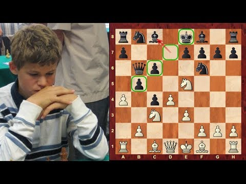 Amazing Game: Magnus Carlsen's amazing King Hunt at the age of just 13!