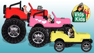 Big Bigger Biggest Jeep Monster Truck - Timmy Sara & Grandpa Uppet