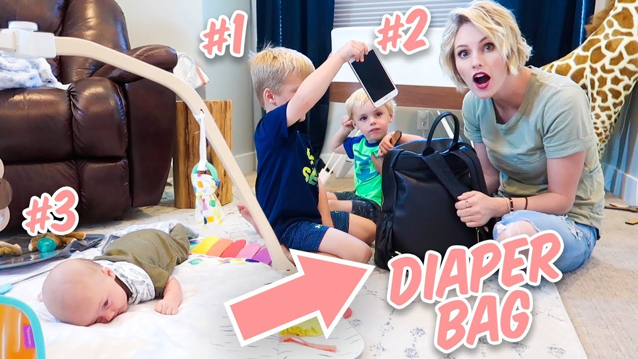 What's In My DIAPER BAG With 3 KIDS!