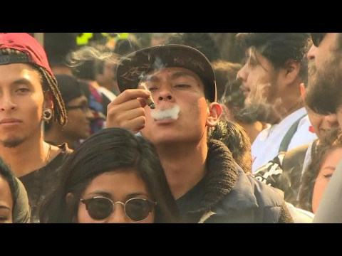 Thousands celebrate legalization of marijuana in Mexico