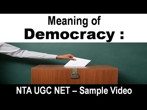 NTA UGC NET June 2019 Political Science : Democracy - Meaning and Definition - Political Theory