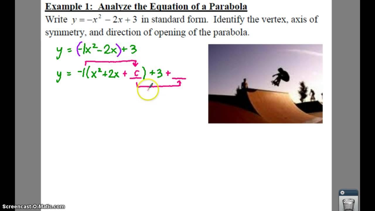 Algebra 2 92 parabolas lessons tes teach algebra 2 92 notes example 1 analyze a parabola falaconquin