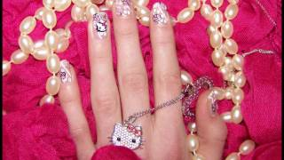 *Hello Kitty with White Lace and Roses* Nail Tutorial
