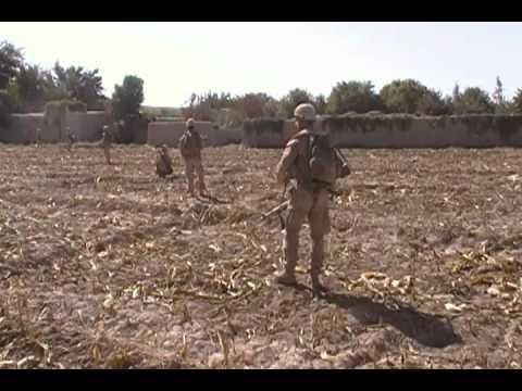10.25.11 3/7 MARINES LCPL BALDWIN WALKS POINT SCANNING FOR LAND MINES