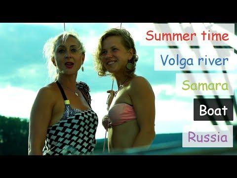 Summer time. Boat. Volga river. Samara. Russia.