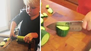 Toddler Wields Giant Knife While Chopping Veggies
