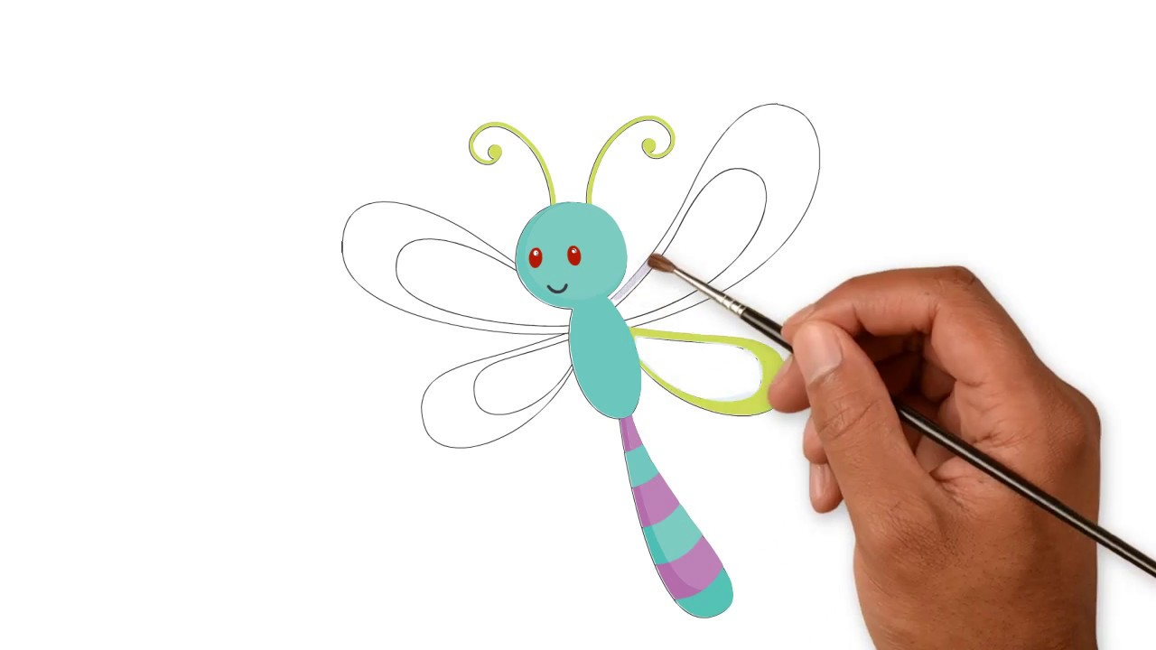 How To Drawing And Coloring Dragonfly [ Easy Drawing