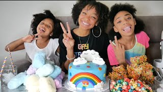 ASMR | RAINBOW FOOD MUKBANG 🌈 SKITTLES CAKE, FRUITY PEBBLE TREATS, POPCORN & COTTON CANDY!