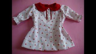 Diy Blusa infantil com gola boneca e manga – molde de 3 a 18 meses