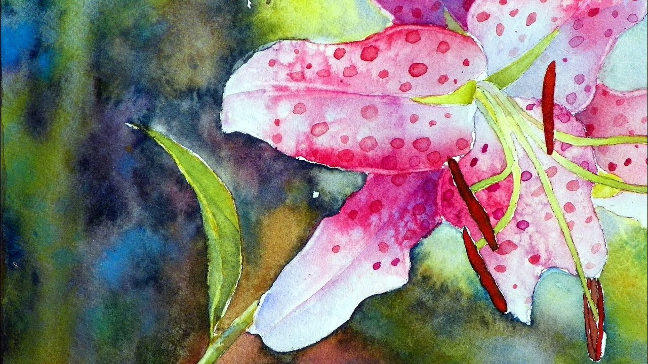 How To Paint The Rubrum Lily In Watercolor Youtube
