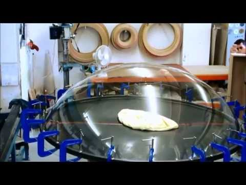 Blow moulding 1800mmØ acrylic dome. 900mm high hemisphere