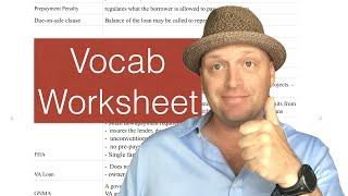 Real Estate Exam Vocabulary worksheet