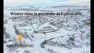 Beautiful snowy day in Egilsstadir, East Iceland