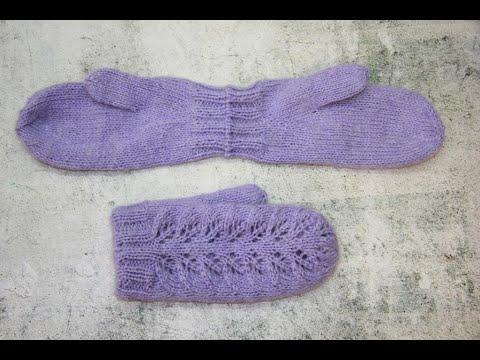 Двойные варежки безотрывным способом вязания (от края до края)/палец индийский клин