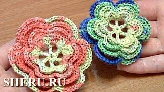 Crochet 6-Petal Flower Урок 24 часть 2 Вязаный цветок