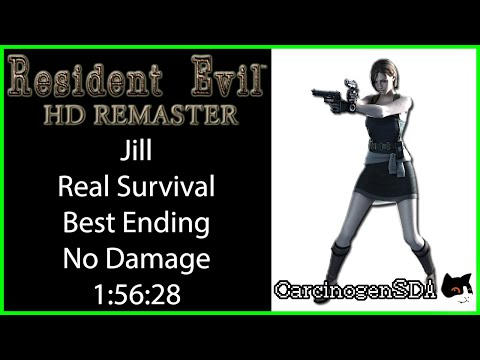 Resident Evil HD Remaster (PC) No Save No Damage - Jill Real Survival Best Ending (1:56:28)
