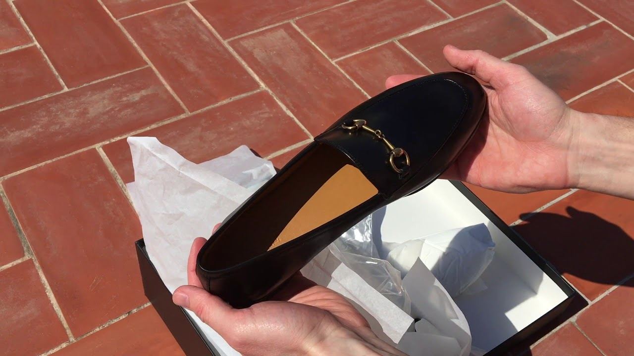 6b82b4a2b91 Gucci Jordaan leather loafer unboxing - YouTube