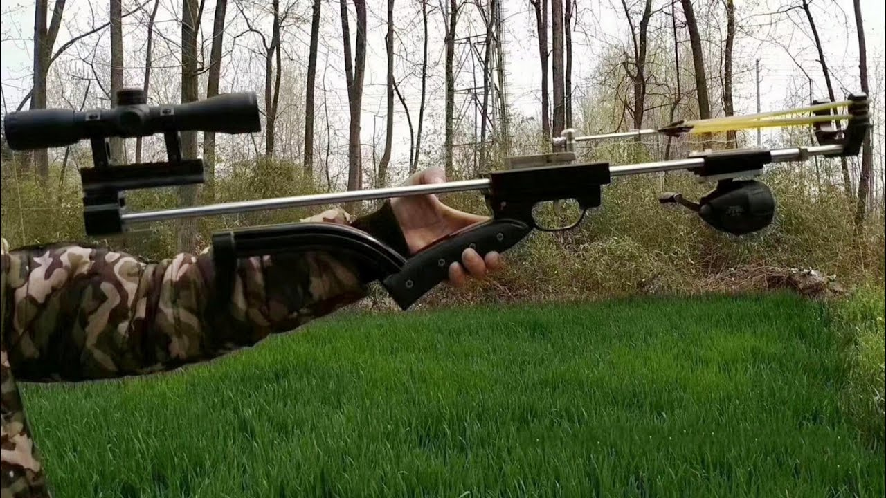 Launch The 80cm Arrow By Hunting Slingshot Rifle Youtube