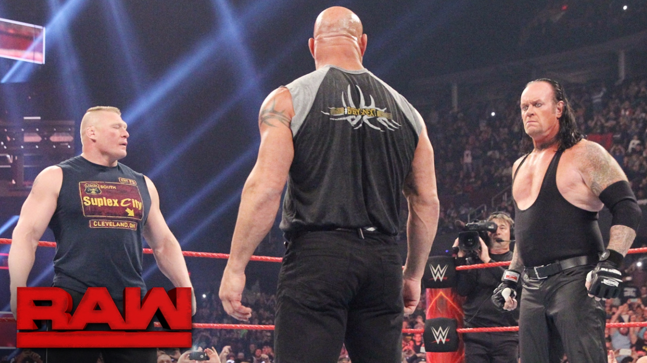 brock lesnar goes face to face with goldberg and the undertaker raw