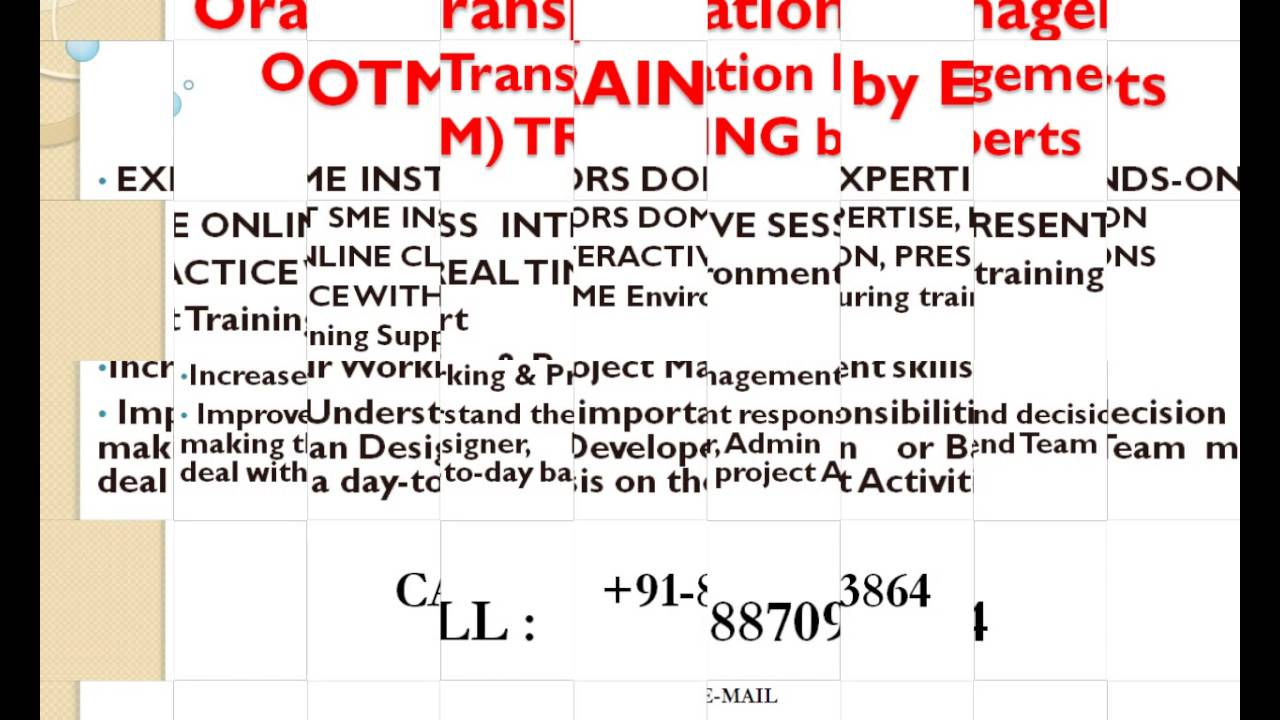 Oracle Transportation Management (OTM) Online Training