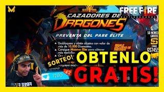 COMO OBTEN NUEVO PASE CAZADOR DE DRAGONES GRATIS!   SORTEO FREE FIRE