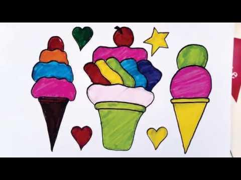 Cara Menggambar Dan Mewarnai Es Krim Menggunakan Pensil Dan Spidol Youtube