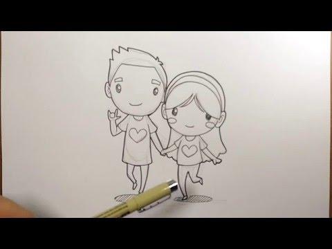สอนวาดรูป การ์ตูน คู่รัก วาดการ์ตูน กันเถอะ