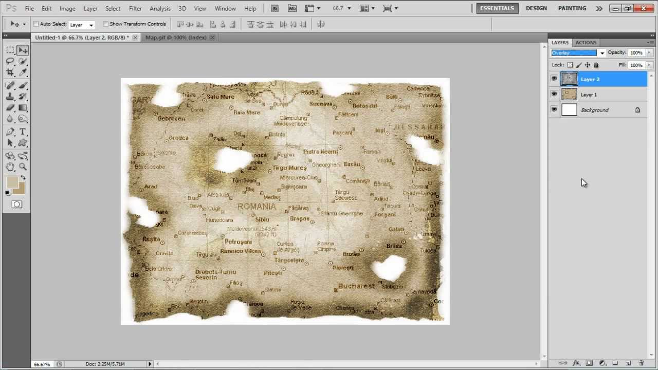 how to create an old burnt treasure map in photoshop youtube