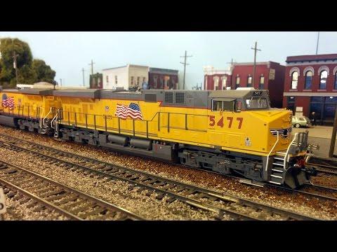 RAILROAD REMIX!  HO Scale Union Pacific grain train... HUGE!