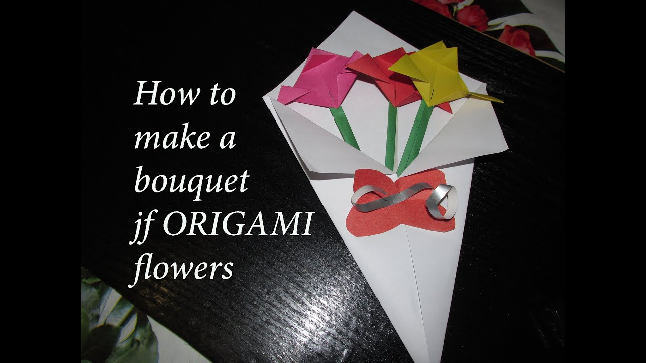 How to make a beautiful bouquet of flowers paper origami - YouTube
