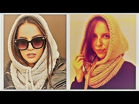 Вязаный капюшон шарф спицами