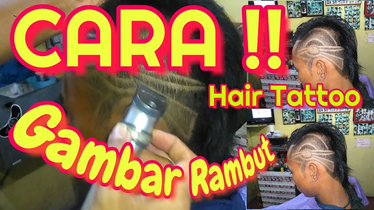 CARA GAMBAR RAMBUT//HAIR TATTOO//POTONG RAMBUT - YouTube