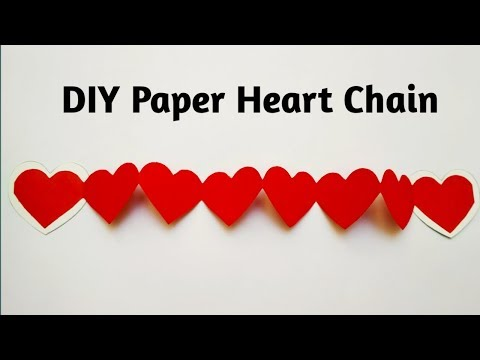 How To Make Paper Heart Chain | Diy Valentine's Day Heart Paper Design | Heart Chain Tutorial