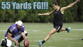 Carli Lloyd Nails 55 Yard Field Goal at Eagles Practice
