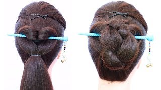 very easy hairstyle from bun stick | chinese bun | cute hairstyle | hairstyle for girls | hairstyle