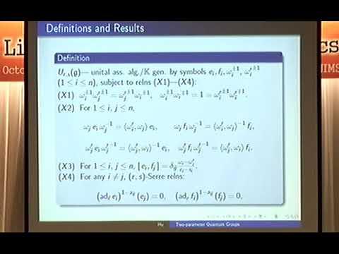 Naihong Hu (East China Normal Uni.) / Two-parameter Quantum Groups And The Representation Theory...