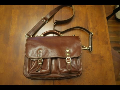 Floto Poste Messenger Bag Italian Leather Laptop Business Briefcase in Brown